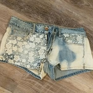 AE crochet acid wash shorts